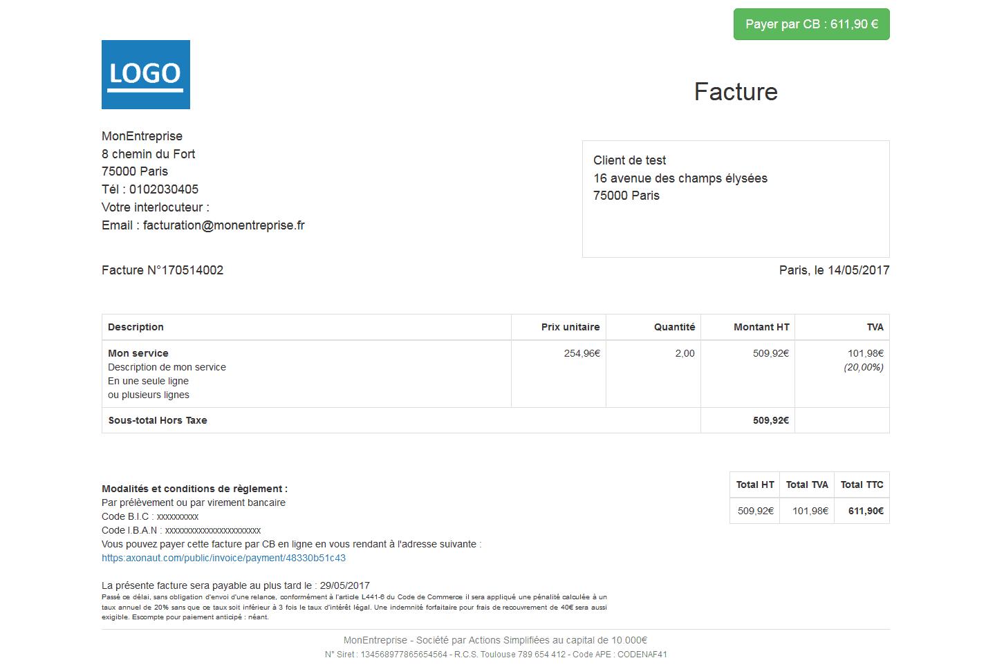Faites payer vos factures Axonaut en ligne par CB