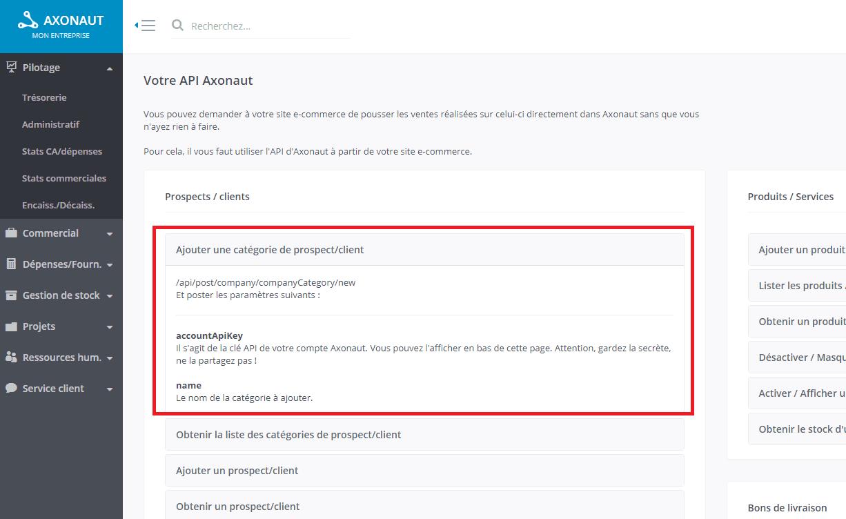 Commandes API pour connecter Axonaut à une solution tierce